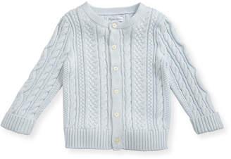 Ralph Lauren Childrenswear Soft Pearl Cotton Cable-Knit Cardigan, Blue, 6-24 Months