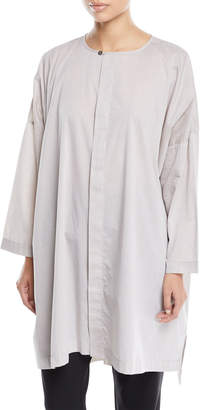 eskandar Longer-Back Round-Neck Melange Cotton Shirt w/ Slits