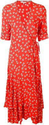 Ganni floral wrap dress