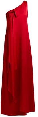 Valentino One Shoulder Hammered Silk Gown - Womens - Red