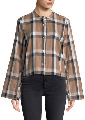 Derek Lam 10 Crosby Collarless Plaid Cropped Shirt