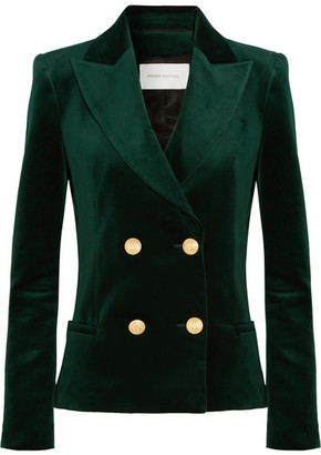 Pierre Balmain Double-breasted Cotton-blend Velvet Blazer - Emerald