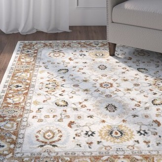 Charlton Home Lenora Floral and Plants Burnt Orange Area Rug Charlton Home