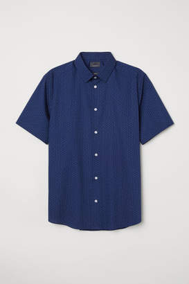 H&M Slim Fit Short-sleeved Shirt - Blue