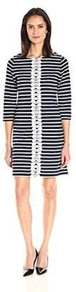 Sandra Darren Women's 1 Pc 3/4 Sleeve Printed Knit & Lace Dress