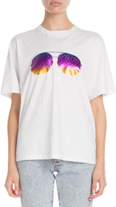 Victoria Beckham Victoria Sunglasses-Print Crewneck Short-Sleeve Cotton T-Shirt