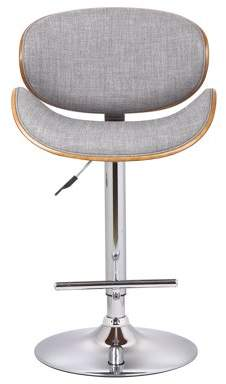 US Pride Furniture Wood Backrest and Gray Fabric Upholstered Adjustable Swivel Bar Stool