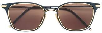 Thom Browne Eyewear Matte Navy & 18k Gold Sunglasses