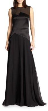 3.1 Phillip LimLuna Sheer-Yoke Satin-Paneled Gown