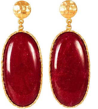 Christina Greene - Large Drop Earrings in Red Quartz
