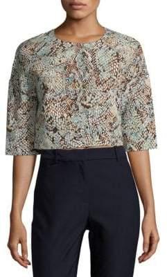 MSGM Geometric-Print Crop Sweater