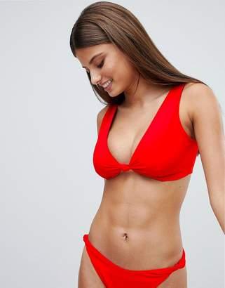 Asos DESIGN fuller bust Knot Minimal Crop Bikini Top DD-G in red