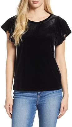 Gibson x Glam Squad Velvet Flutter Sleeve Shirt