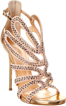 Giuseppe Zanotti Strappy Embellished Leather & Suede Sandal