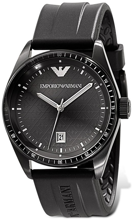 Emporio Armani Black Analog Watch with Rubber Strap, 43 mm