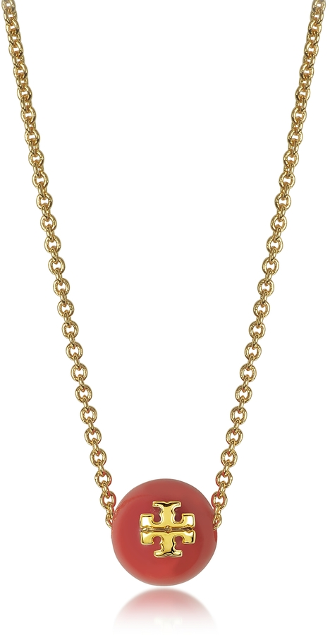 Tory BurchTory Burch Coral Red Pearl Goldtone Brass Chain Necklace