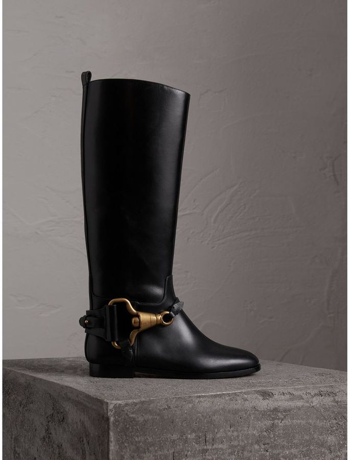 Burberry Equestrian Detail Leather Riding Boots