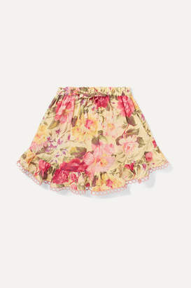 Zimmermann Kids - Honour Ruffled Floral-print Cotton-voile Skirt - Yellow