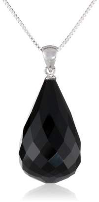Sterling Silver Faceted Black Onyx Large Teardrop Briolette Pendant with Chain Necklace