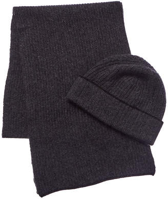 Portolano Cashmere 2Pc Wool & Angora-Blend Hat & Scarf Set