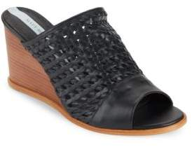 Matt Bernson Basket-Weaved Leather Wedge Sandals