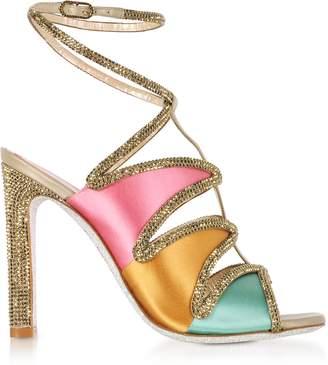 Rene Caovilla Kandinsky Satin and Metallic Light Gold High Heel Sandals w/Strass