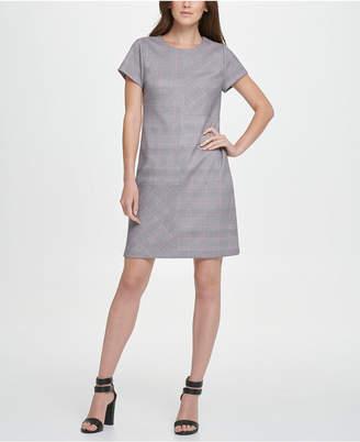 DKNY Stretch Faux Sued Menswear Print Shift Dress