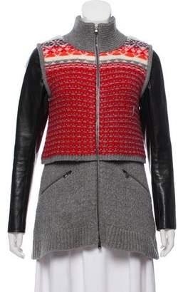 Veronica Beard Leather-Trimmed Wool Coat