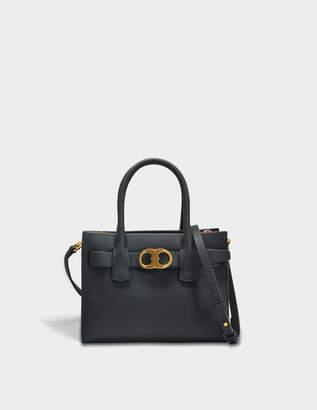 Tory Burch Gemini Link Small Tote Bag in Black Calfskin