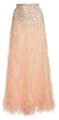 Alice + Olivia Women's Ashton Sequin& Feather Skirt - Champagne - Size 0