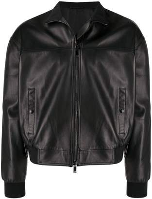 Valentino leather bomber jacket