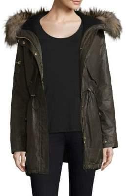 SAM. Long Hudson Military Raccoon Fur Coat