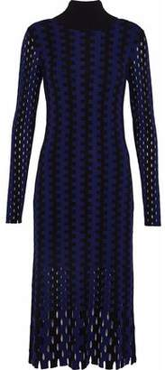 Diane von Furstenberg Laser-Cut Striped Merino Wool Turtleneck Dress