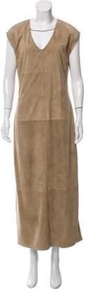Brunello Cucinelli Monili -Trimmed Suede Dress