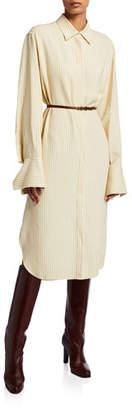 The Row Sonia Striped Shirttdress Dress w/Leather Belt