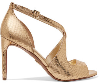 MICHAEL Michael Kors - Estee Metallic Snake-effect Leather Sandals - Gold $135 thestylecure.com