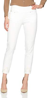 Jag Jeans Women's Amelia Slim Ankle Pull on Jean, Embroidered White Denim