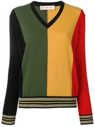 Marni striped v-neck jumper