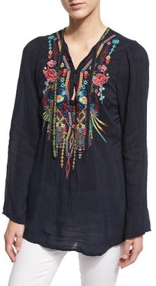 Johnny Was Serendipity Embroidered-Bib Blouse, Navy Shadow, Plus Size $240 thestylecure.com