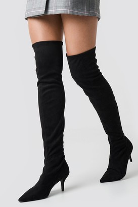 Na Kd Shoes Overknee Kitten Heel Boots Black