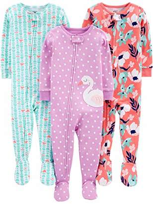 Carter's Simple Joys by Girls' 3-Pack Snug Fit Footed Cotton Pajamas