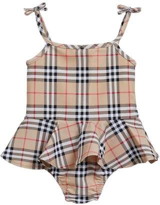 Burberry Ruffle Detail Vintage Check One-piece Swimsuit
