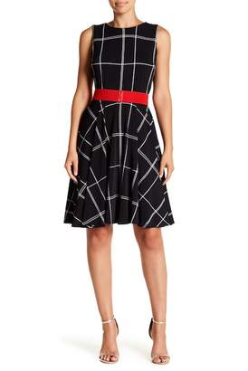 Gabby Skye Plaid Belted Fit & Flare Dress
