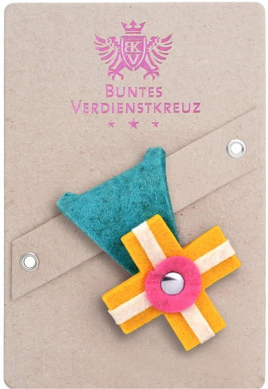 Vonbox - Buntes Verdienstkreuz, lagune / gelb