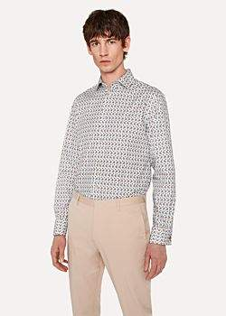 Paul Smith Men's Tailored-Fit Off-White 'Geo Floral' Print Double-Cuff Shirt