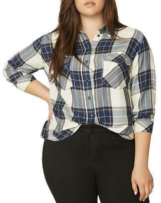 Sanctuary Curve Plaid Boyfriend Shirt