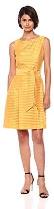 Anne Klein Women's Solid Shadow Stripe Fit & Flare Dress