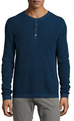 Neiman Marcus Waffle-Knit Long-Sleeve Henley Shirt, Gray $225 thestylecure.com