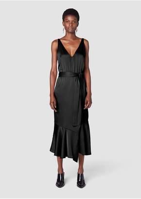 Derek Lam 10 Crosby Belted V-Neck Cami Dress With Asymmetric Hem