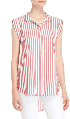 Per Se Striped Cap Sleeve Hi-Low Shirt